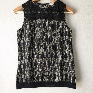LOFT Black & White Floral Print Sleeveless Blouse
